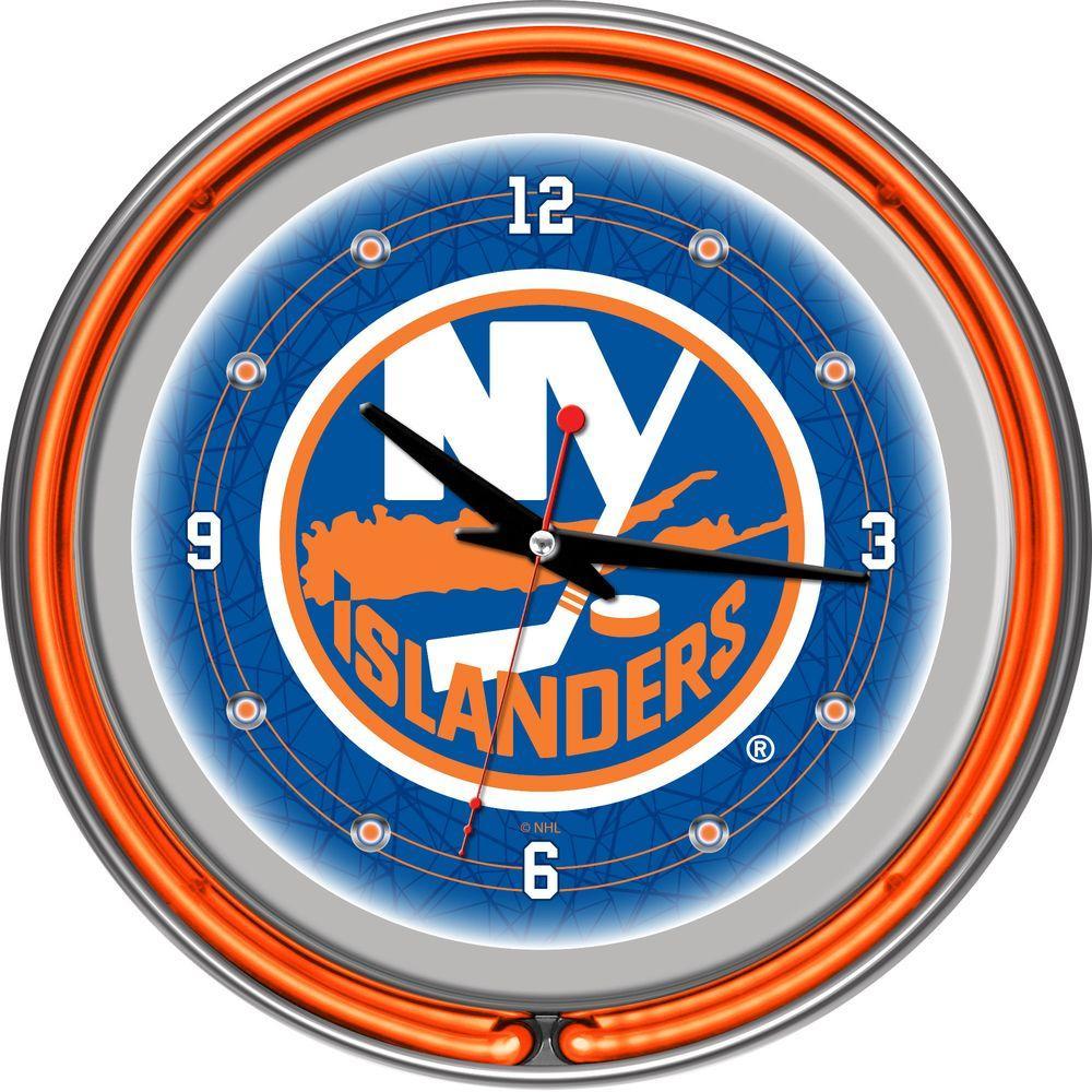 Trademark Global 14 in. New York Islanders NHL Neon Wall Clock