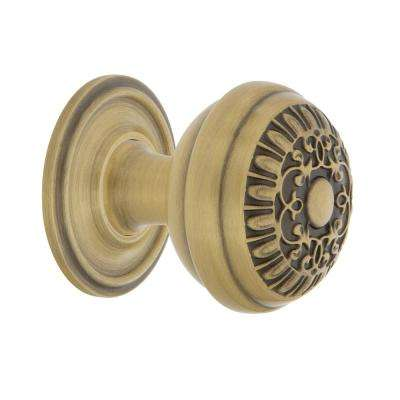 Egg & Dart 1-3/8 in. Antique Brass Cabinet Knob with Classic Rose