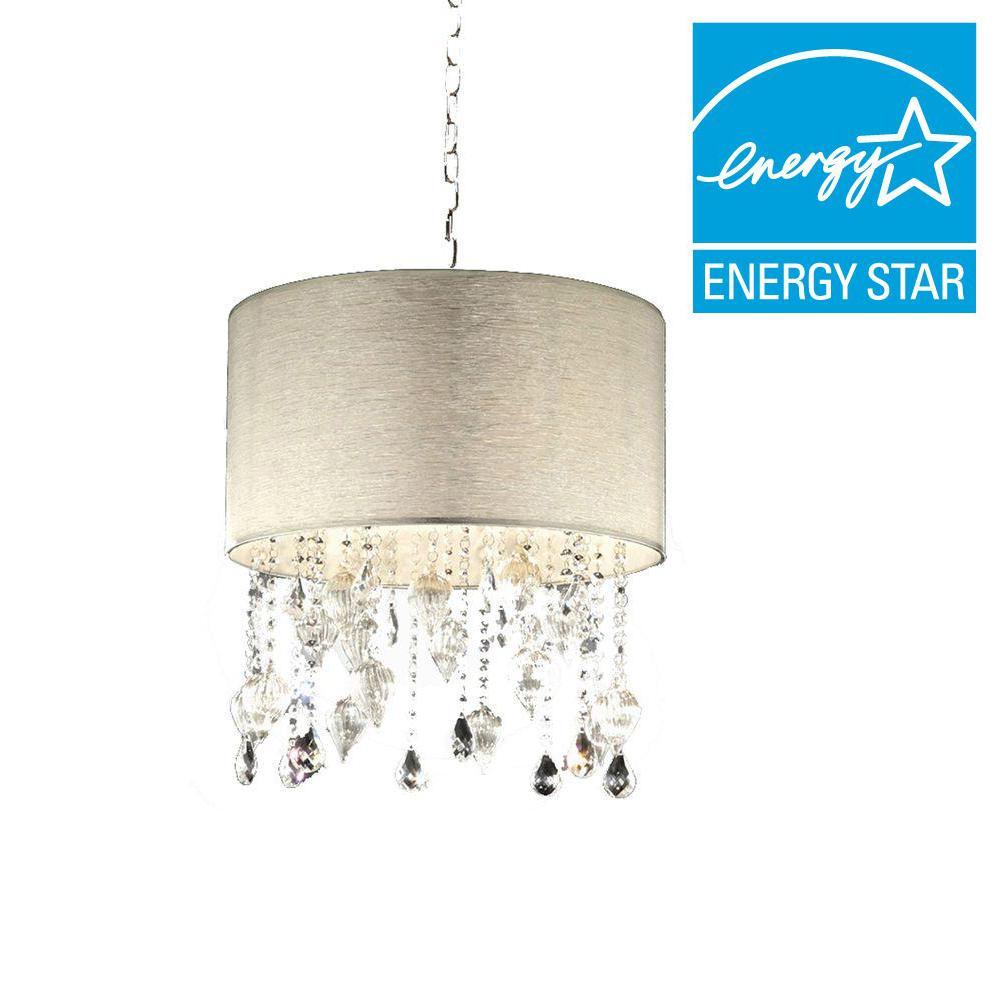 ORE International 23 in. 3-Light Chrome Drape Ceiling Crystal Chandelier