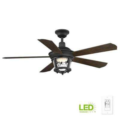 Smyrna Collection 52 in. LED Forged Black Ceiling Fan with Light Kit