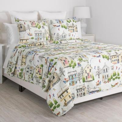 Holiday Multi Village Full Queen Quilt Set