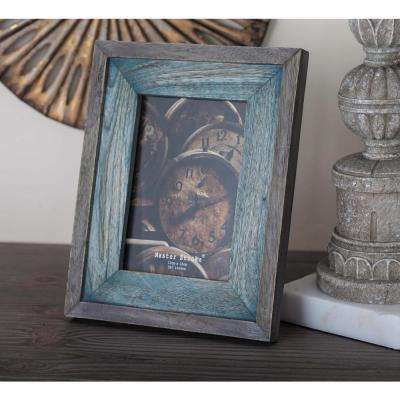 1-Opening 8 in. x 10 in. Gray and Brown Wooden Picture Frame