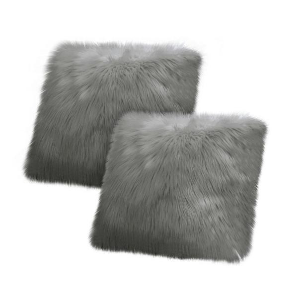 Faux-Fur Charcoal Solid Faux Fur Polyester 18 in. x 18 in. Throw Pillow (Set of 2)