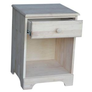 International Concepts 1 Drawer Unfinished wood Nightstand BD 5001
