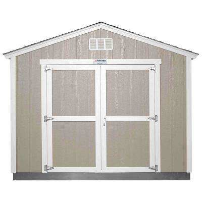 Installed Tahoe 10 ft. x 12 ft. x 8 ft. 10 in. Painted Wood Storage Building Shed with Shingles and Endwall Double Door