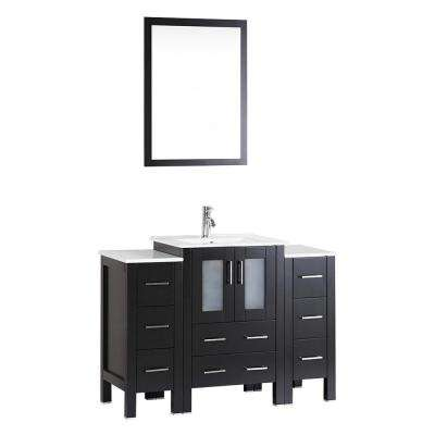 Bosconi 48 in. W Single Bath Vanity with Ceramic Vanity Top in White with White Basin and Mirror