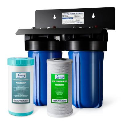10 in. x 4.5 in. 2-Stage iron and Manganese Reducing Whole House Water Filtration System with Big Blue Filters