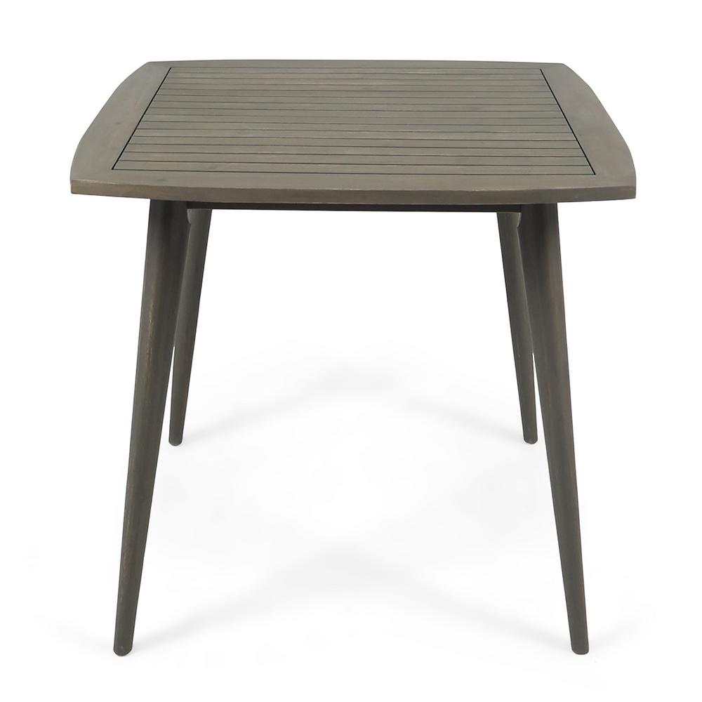 Noble House Stamford Gray Square Wood Outdoor Dining Table ...