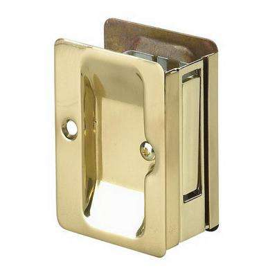 3-7/32 in. Brass Pocket Door Pull with Passage Lock
