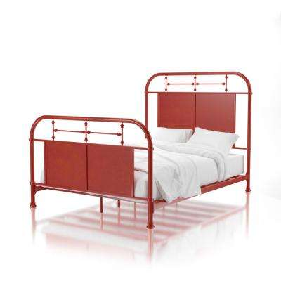 Francesca Distressed Red Twin Size Metal Bed