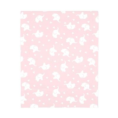 Super Soft Pink and White Elephant Polyester Fitted Crib Sheet