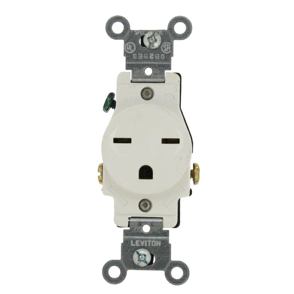 Leviton 15 Amp Commercial Grade Grounding Single Outlet, White-5029 ...