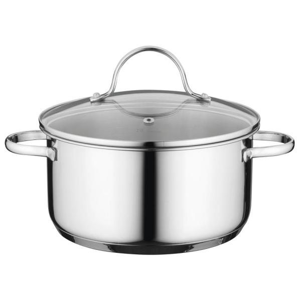 Berghoff Essentials Comfort 1 7 Qt Round Stainless Steel Casserole Dish With Glass Lid 1100226 The Home Depot