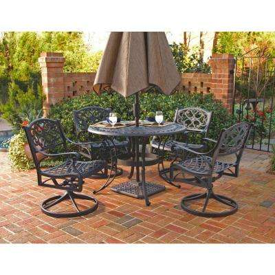 Biscayne 48 in. Black 5-Piece Round Swivel Patio Dining Set