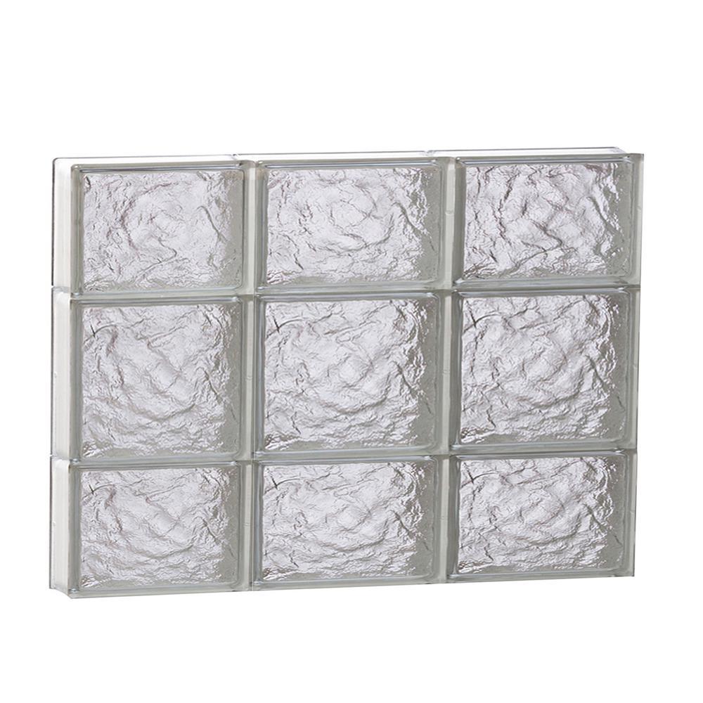 23.25 in. x 19.25 in. x 3.125 in. Frameless Ice Pattern Non-Vented Glass Block Window