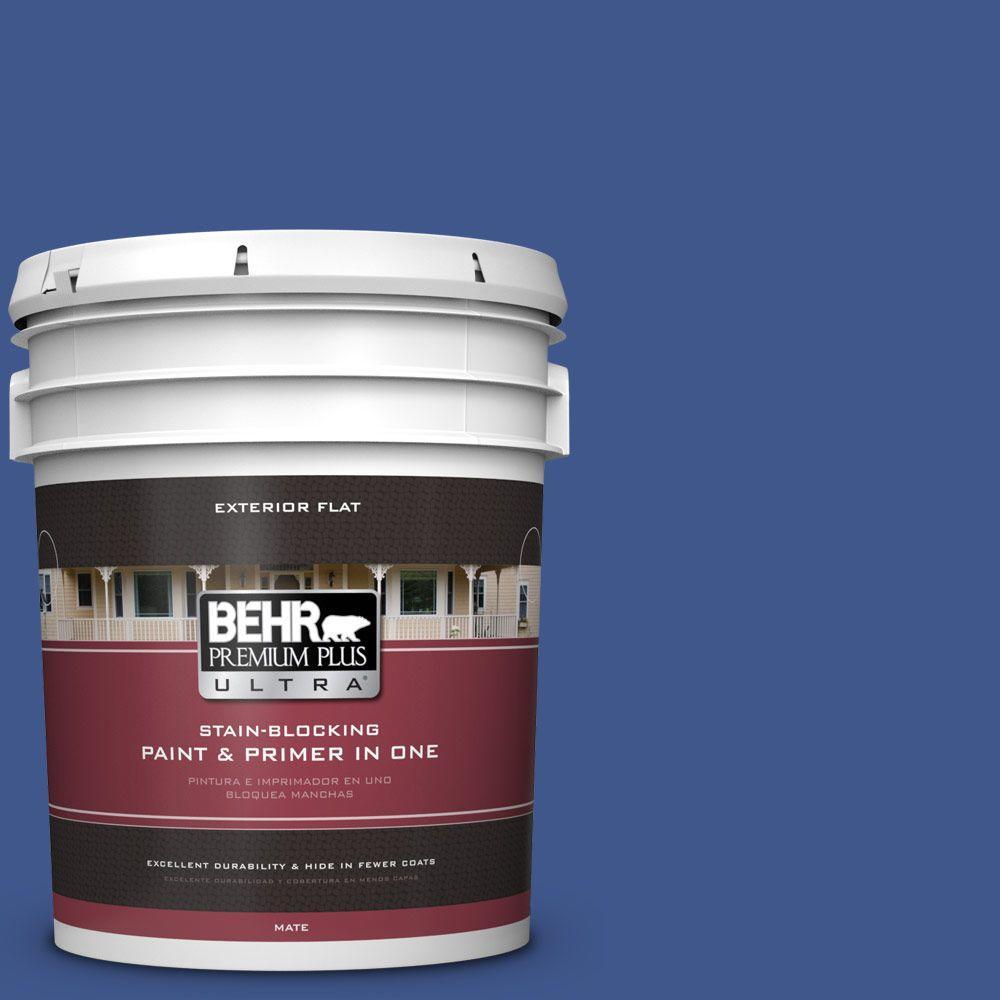 BEHR Premium Plus Ultra 5-gal. #PPU15-3 Dark Cobalt Blue Flat Exterior Paint