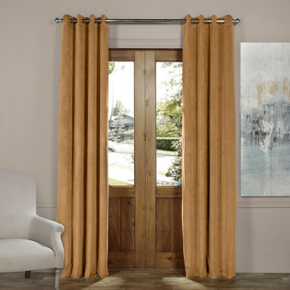 Exclusive Fabrics & Furnishings Blackout Signature Amber Gold Grommet Blackout Velvet Curtain - 50 in. W x 84 in. L (1 Panel)