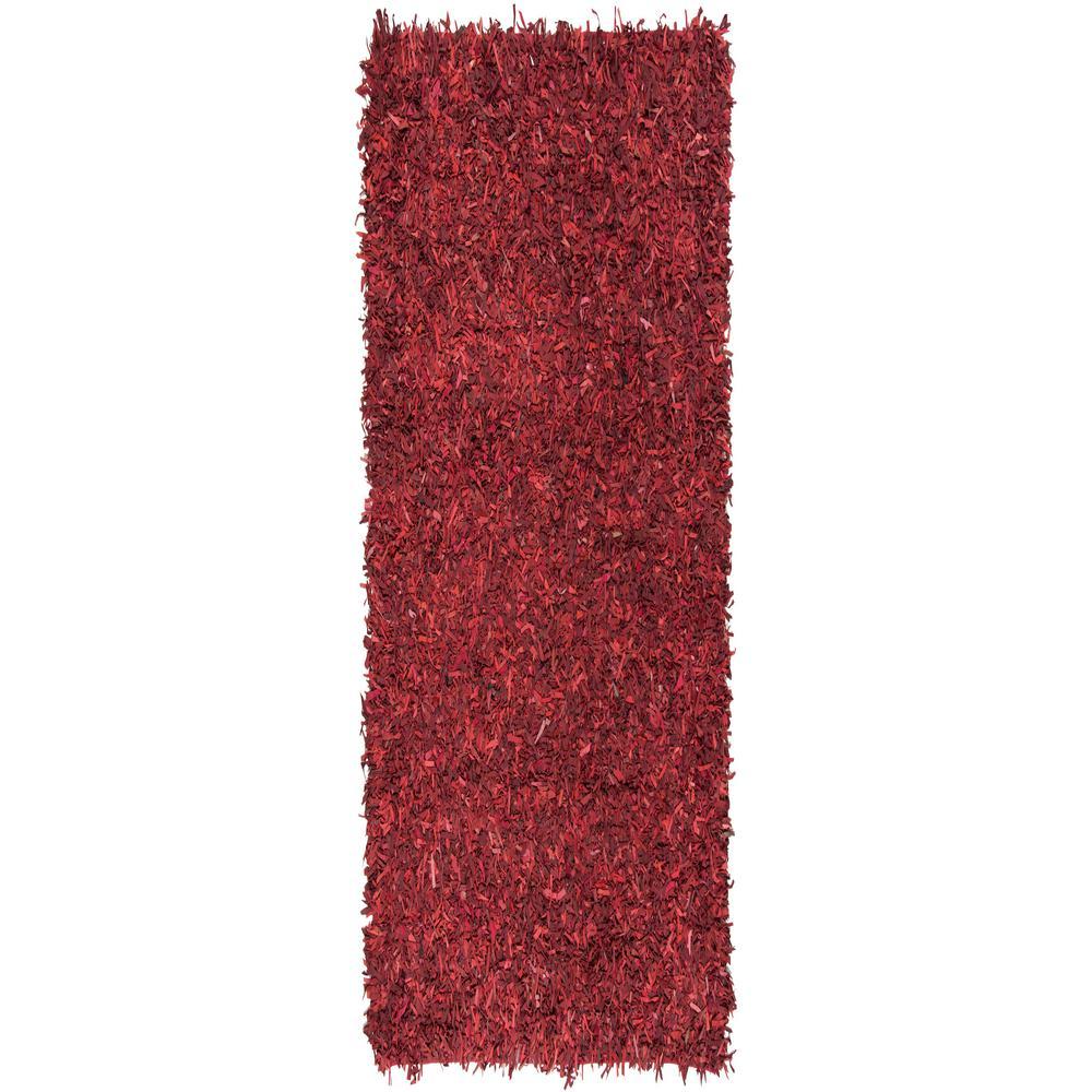 Leather Shag Red 2 ft. x 8 ft. Runner