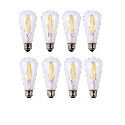 40-Watt Equivalent ST19 Dimmable Clear Filament Vintage Style LED Light Bulb Soft White (8-Pack)