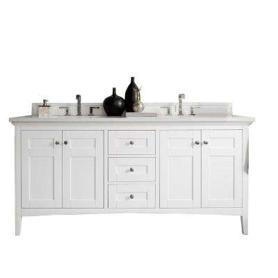Palisades 72 in. W Double Vanity in Bright White with Marble Vanity Top in Carrara White with White Basin