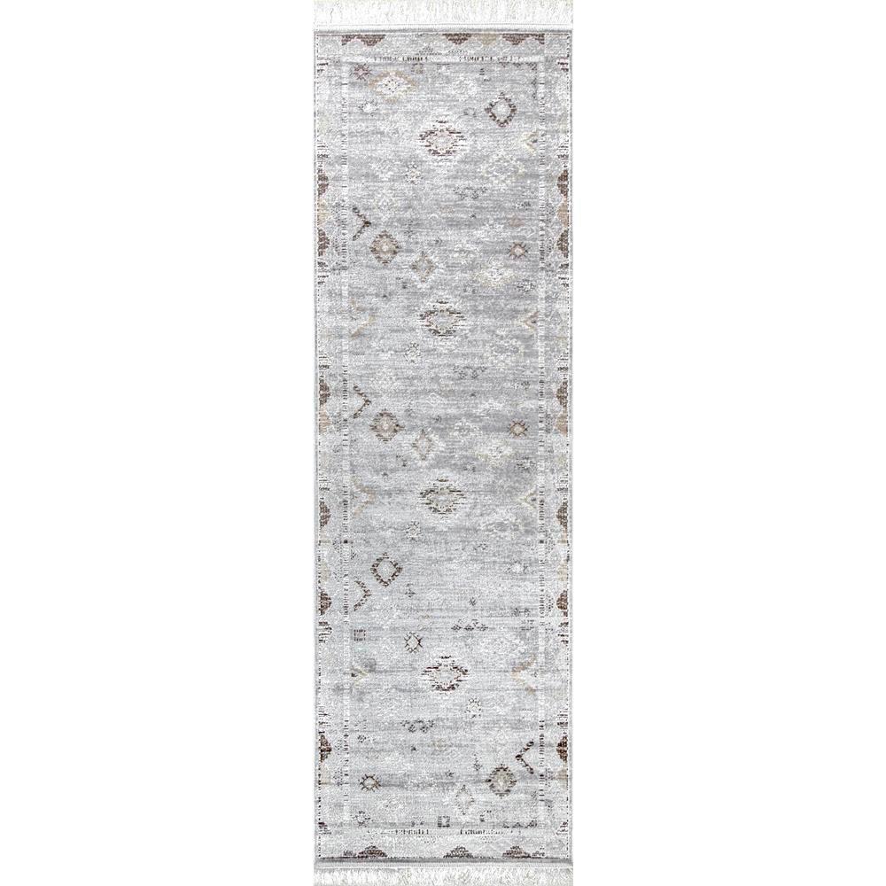 Vintage Tribal Maida Fringe Silver 3 ft. x 8 ft. Runner Rug