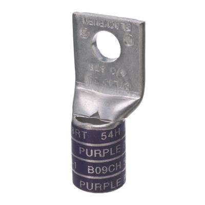Copper One-Hole Straight Short Barrel Compression Lug for 4/0 Stranded Wire, Purple (Case of 6)
