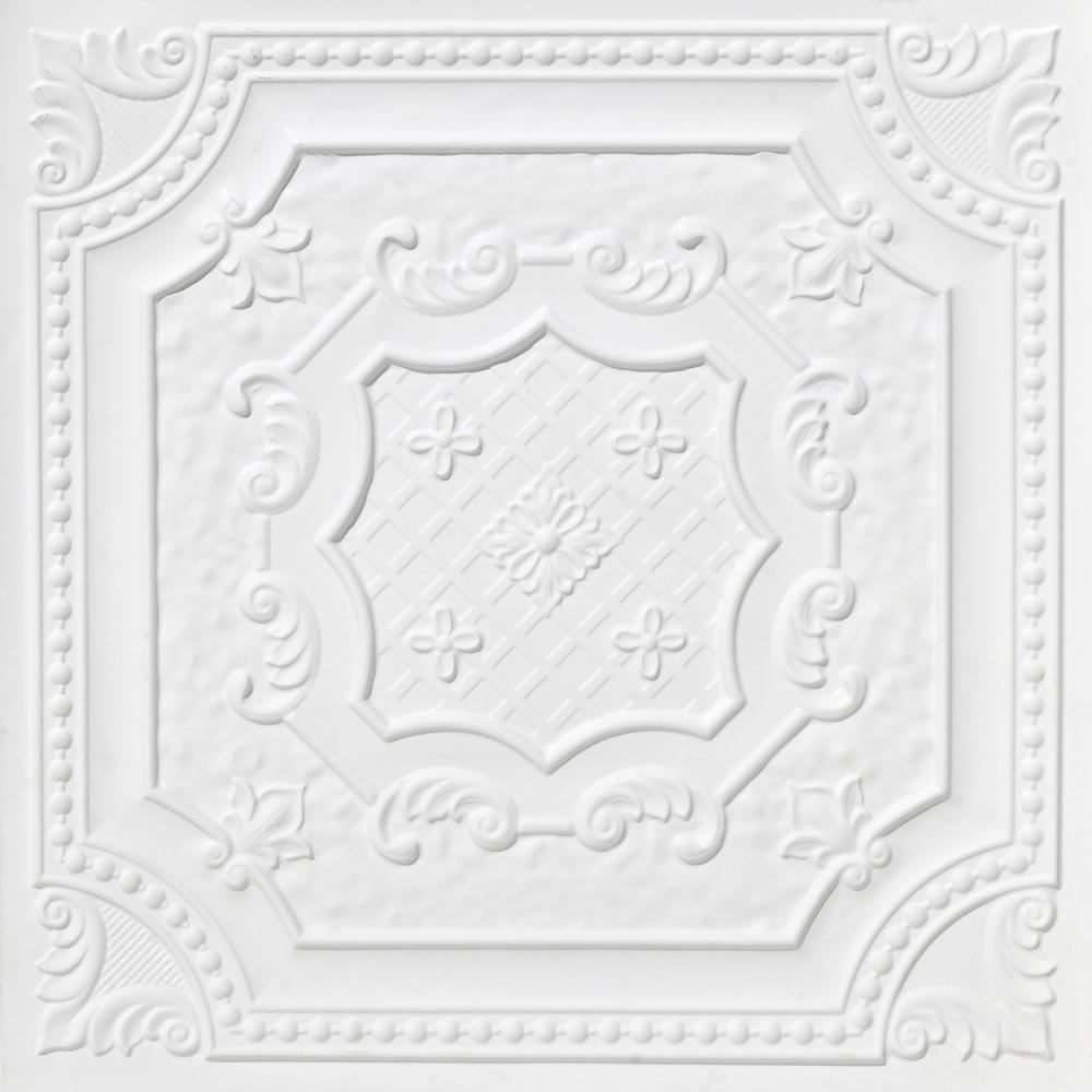 From Plain To Beautiful In Hours Elizabethan Shield 2 ft. x 2 ft. PVC Glue-up or Lay-in Ceiling Tile in White Matte