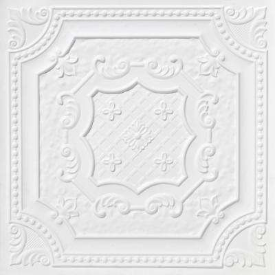 Elizabethan Shield 2 ft. x 2 ft. PVC Glue-up or Lay-in Ceiling Tile in White Matte
