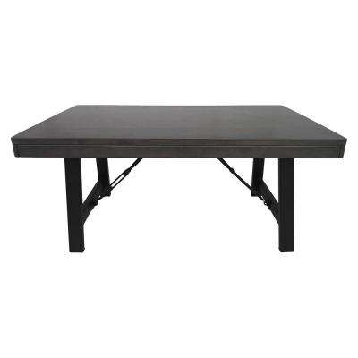 Linnett Farmhouse Gray Rubberwood Coffee Table with Black Iron Legs