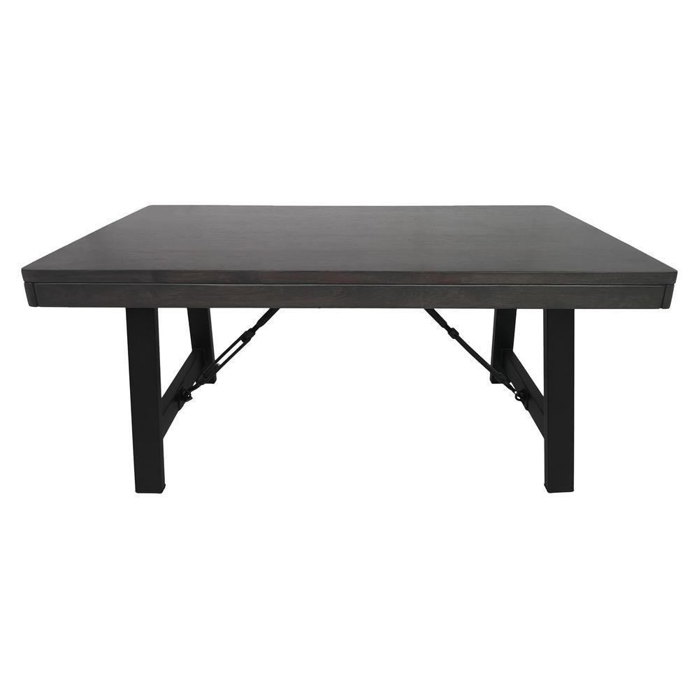 Linnett Farmhouse Gray Rubberwood Coffee Table with Black Iron Legs