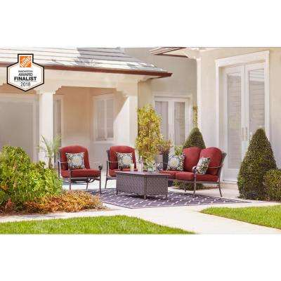 Walton Springs Dark Brown 4-Piece Aluminum and Steel Patio Conversation Set with Cabernet Cushions