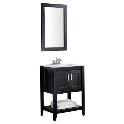 Mosset 24 in. W x 34 in. H Bath Vanity in Rich Black with Ceramic Vanity Top in White with White Basin and Mirror