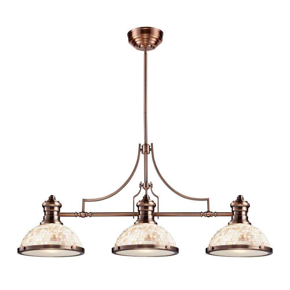 Chadwick 3-Light Antique Copper Island Light With Cappa Shell Shades