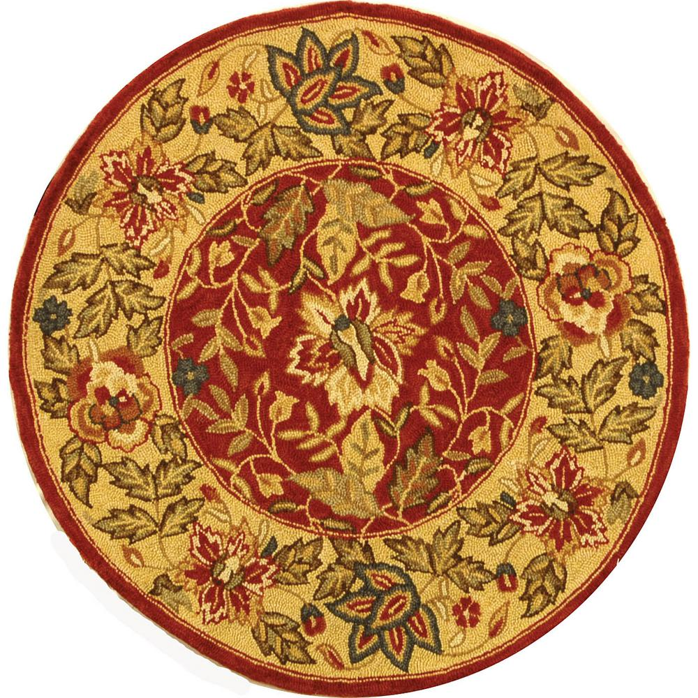 Safavieh Chelsea Red Ivory 3 Ft X 3 Ft Round Area Rug
