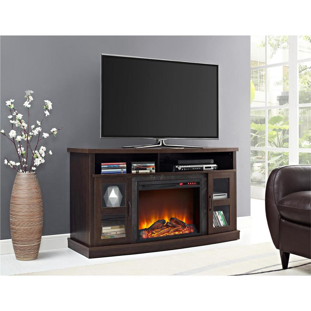 Get warm and toasty while watching your favorite TV shows with this Ameriwood Barrow Creek Espresso TV Stand Console with Fireplace and Glass Doors.