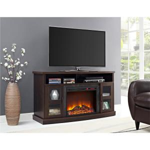 Ameriwood Barrow Creek 60 inch Espresso TV Stand Console with Fireplace/Glass Doors by Ameriwood