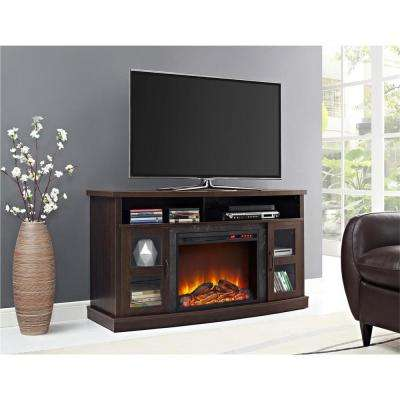 Barrow Creek 60 in. Espresso TV Stand Console with Fireplace/Glass Doors