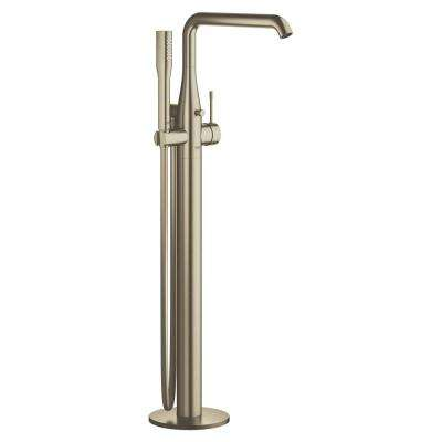Essence Single-Handle Floor Mount Roman Tub Faucet with Handheld Shower in Brushed Nickel