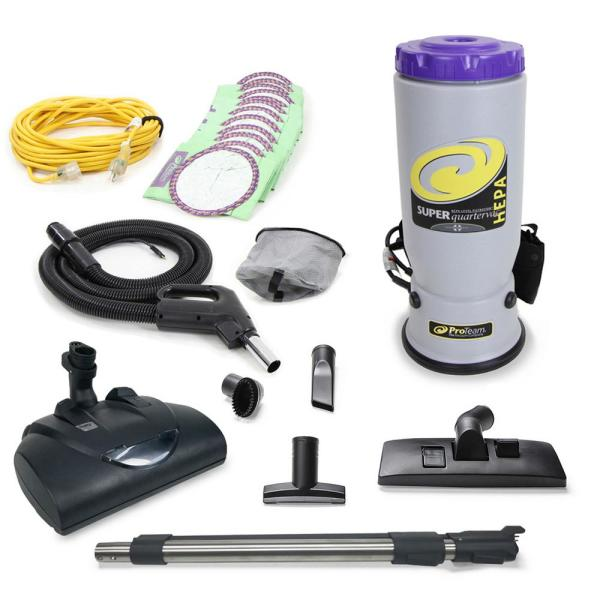 Super QuarterVac Commercial Backpack Vacuum with Wessel Werk Head