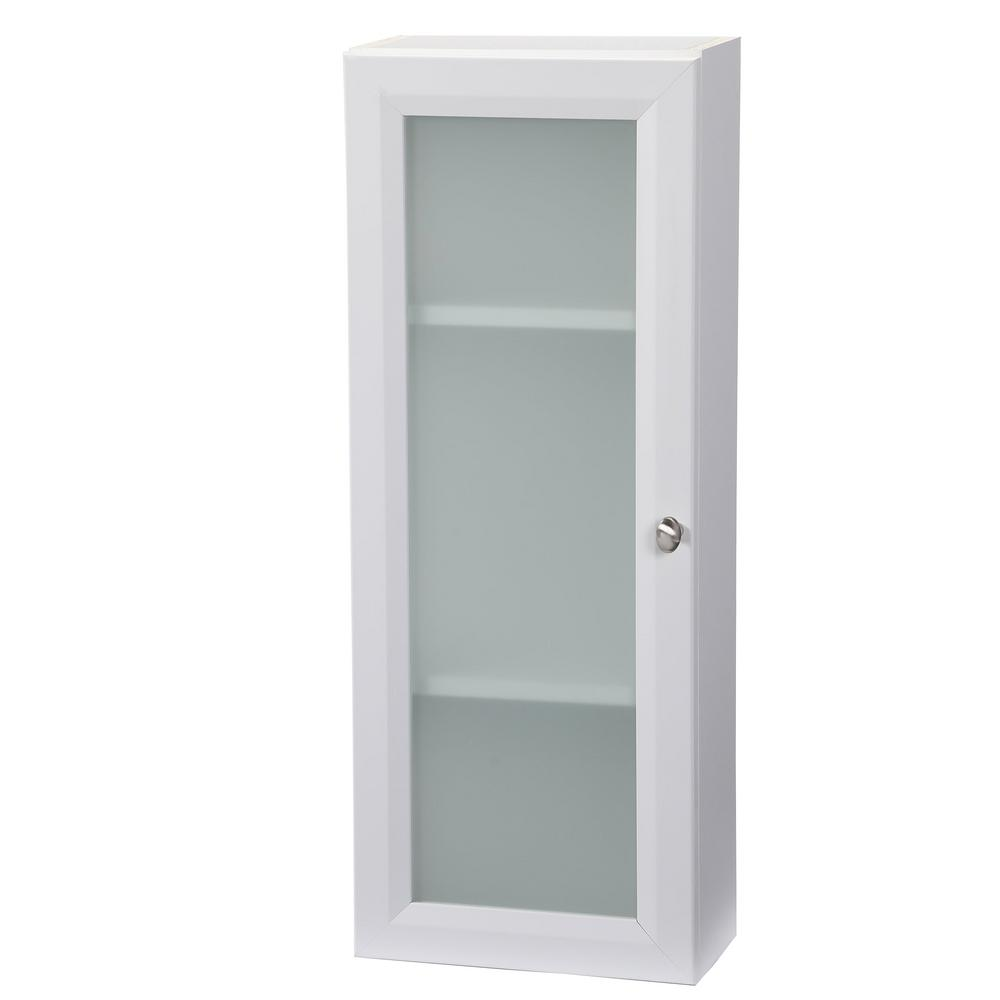 White Bathroom Wall Cabinet With Glass Doors