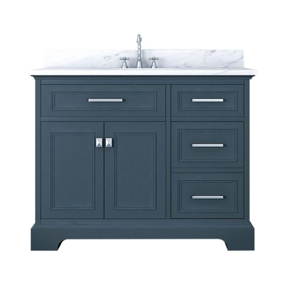 Alya Bath Yorkshire 43 in. W x 22 in. D Bath Vanity in Gray with Marble Vanity Top in White with White Basin