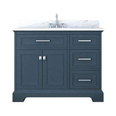 Yorkshire 43 in. W x 22 in. D Bath Vanity in Gray with Marble Vanity Top in White with White Basin