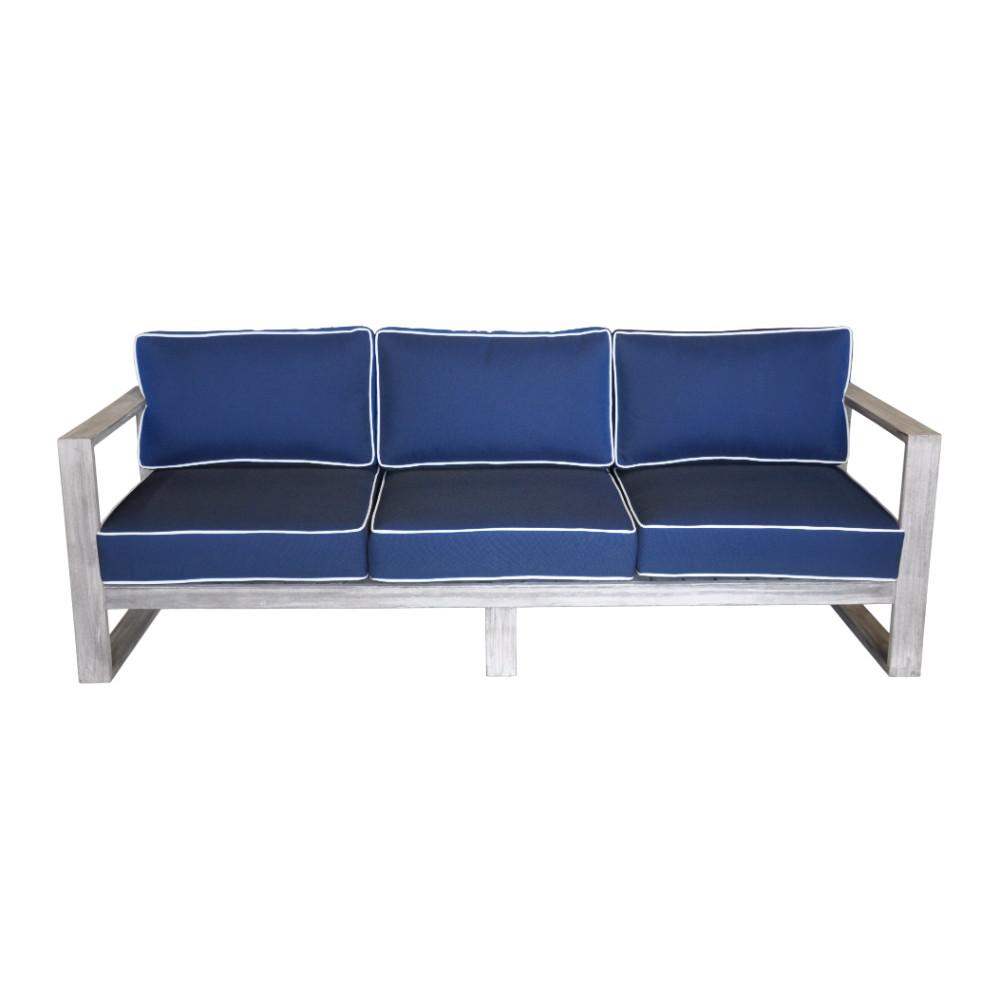 Super Courtyard Casual North Shore Collection 3 Person Teak Outdoor Sofa With Navy Cushions Dailytribune Chair Design For Home Dailytribuneorg