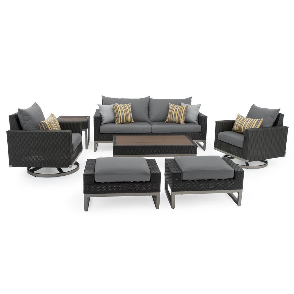 RST Brands Milo Espresso 7-Piece Wicker Motion Patio Deep Seating Conversation Set with Sunbrella Charcoal Grey Cushions