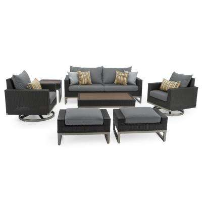 Milo Espresso 7-Piece Wicker Motion Patio Deep Seating Conversation Set with Sunbrella Charcoal Grey Cushions