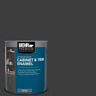1 gal. #AE-54 Molten Black Satin Enamel Interior Cabinet and Trim Paint