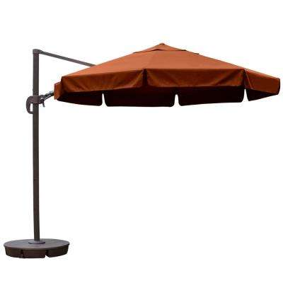 Freeport 11 ft. Octagon Cantilever with Valance Patio Umbrella in Terra Cotta Sunbrella Acrylic