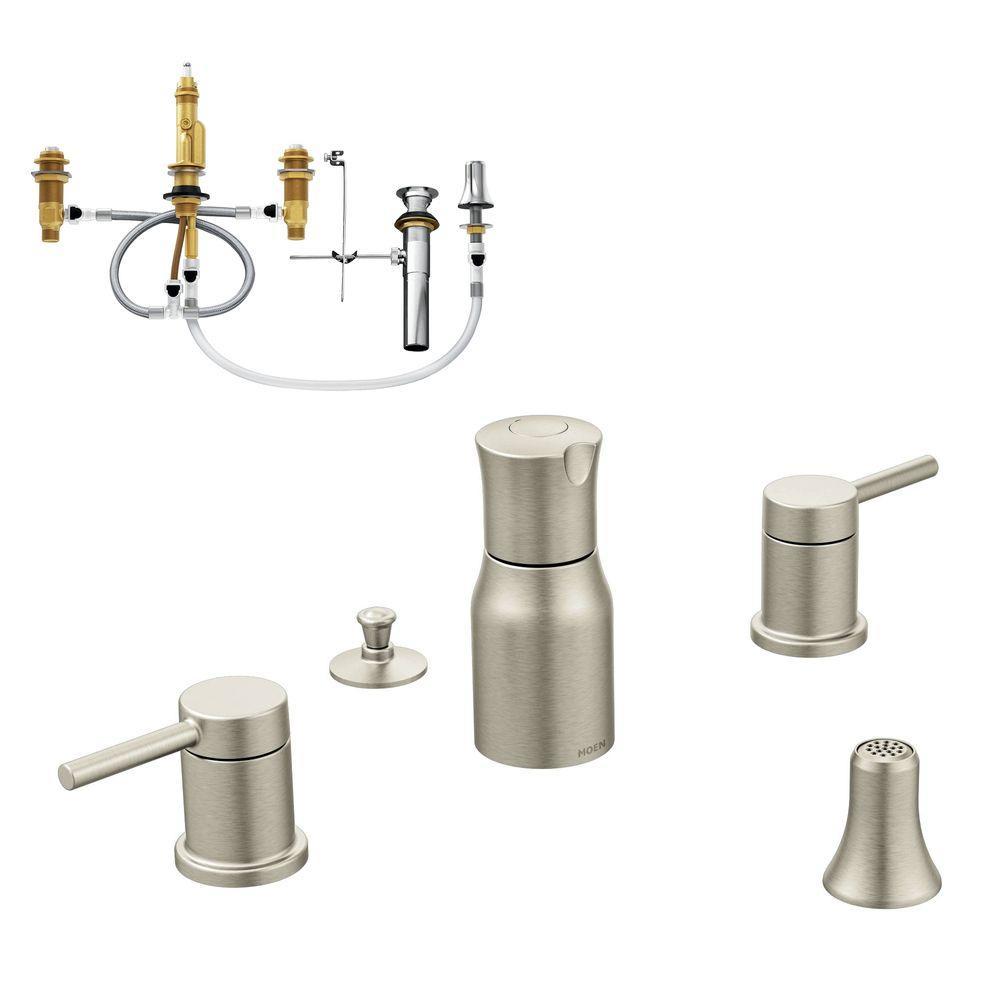 Align 2-Handle Bidet Faucet in Brushed Nickel (Valve Included)