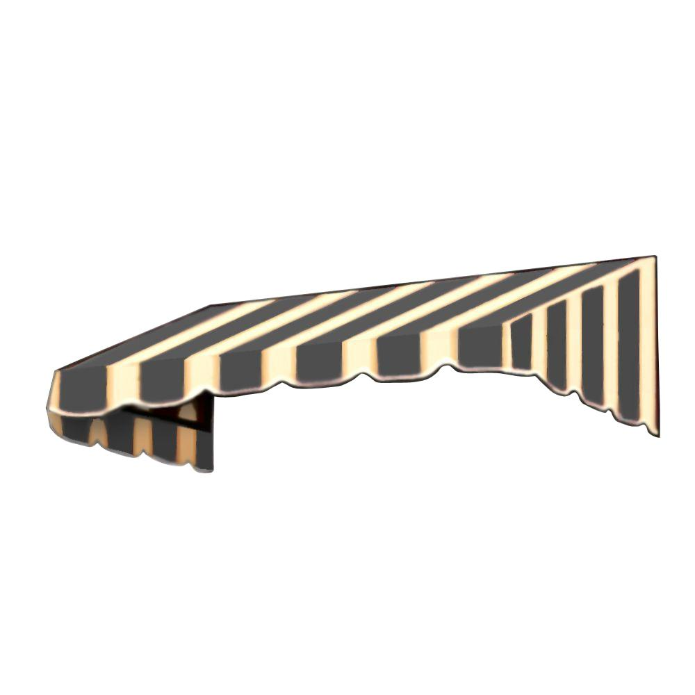 AWNTECH 14 ft. San Francisco Window/Entry Awning (56 in. H x 36 in. D) in Black/Tan Stripe