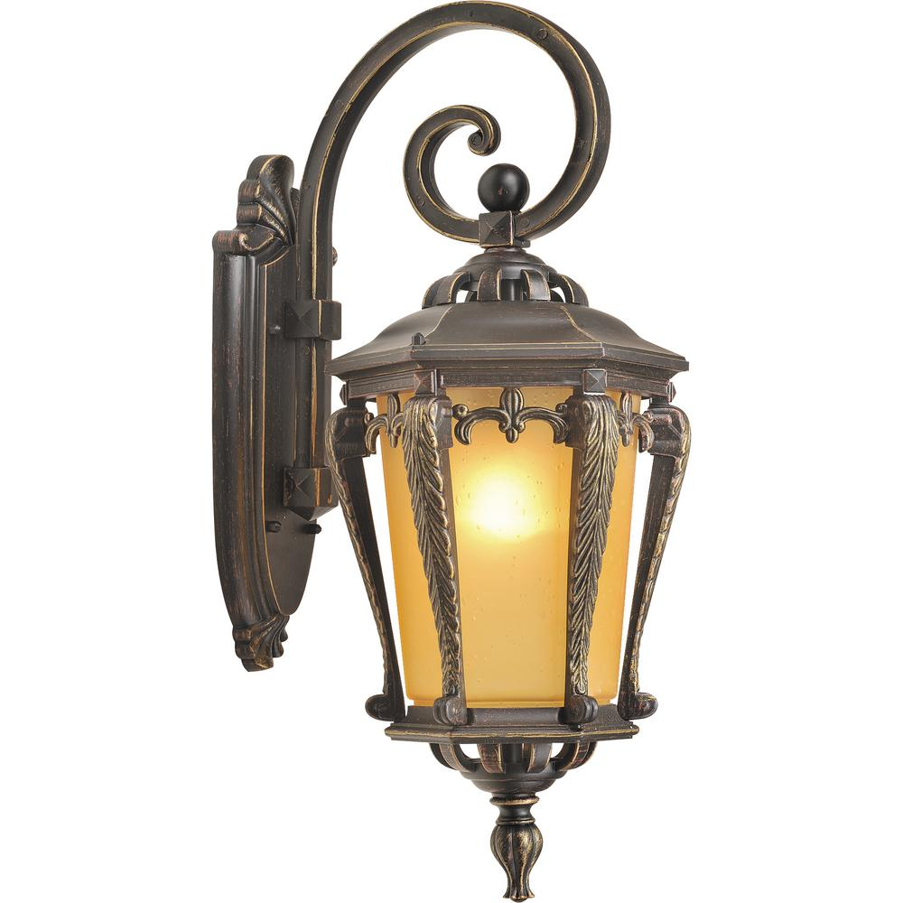 Volume Lighting 1-Light Indoor or Outdoor Golden Rust Aluminum Lamp / Coach Light Wall Mount Sconce with Tapered Champagne Bubble Glass